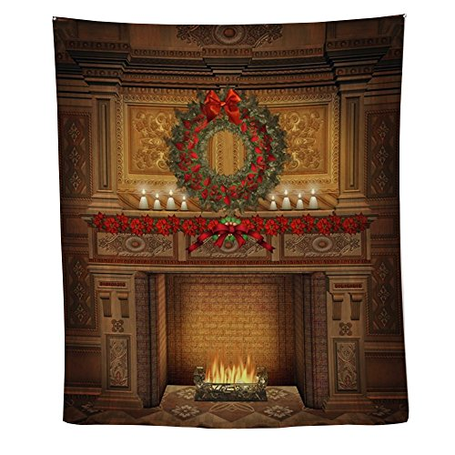 CafePress - Christmas Fireplace - Wall Tapestry by CafePress