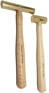 product image for Grace USA - Set of 2 Brass Hammers - Long and Short Head 8oz - Seasoned Hickory Handle - Gunsmithing Machinists Gunmaking - Made in USA