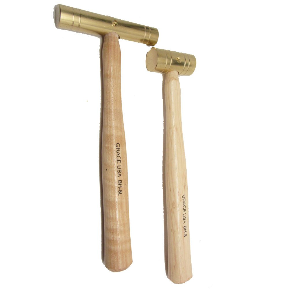 Grace USA - Set of 2 Brass Hammers - Long and Short Head 8oz - Seasoned Hickory Handle - Gunsmithing Machinists Gunmaking - Made in USA