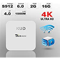 Andriod TV Box KUD TX8 Mini Amlogic S912 Android 6.0 3D 4K Octa-core 2GB DDR3+16GB Set Top Box 2.4G/5G Dual Wifi 2/16GB Smart TV Box