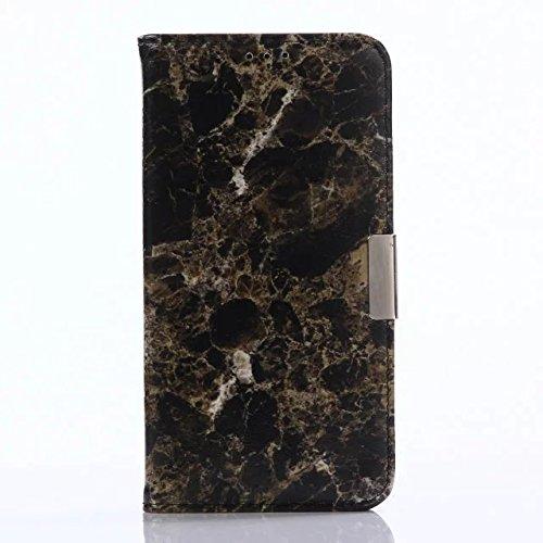 YHUISEN Textura De Piedra De Mármol Textura Caja De Cuero PU TPU Inner Flip Cartera De Protección Con Ranura De Tarjeta / Soporte Para Samsung Galaxy S6 ( Color : Black ) Black
