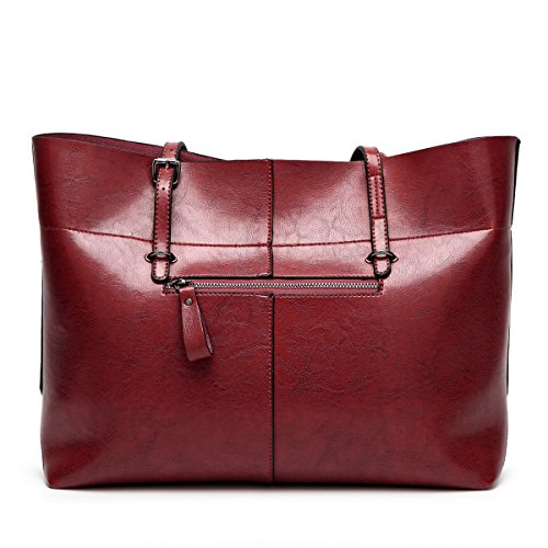 Wine Women's Tote Flada Bags Shoulder Daily Bag PU Work Coffee Handbags for Leather Red Capacity Large 4qdqw86HF