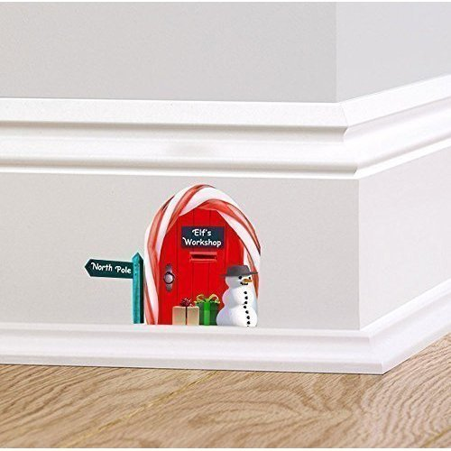 A PIENI colori rosso ELFI OFFICINA POLO NORD Folletto Elfo Porta Adesivo da parete decalcomania Natale Festivo Battiscopa da parete EXPSFD013572