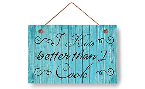 wendana I Kiss Better Than I Cook Wood Signs Funny Home Decor Plank Hanging Plaque,Gifts for Husband,Valentines Day Gifts,Anniversary Gifts ()