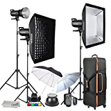 Godox SK400II 3 x 400Ws 2.4G Strobe Flash Kits for Studio Photography Lighting - Light Stands, Softbox, Barn Door, Umbrella, Wireless Trigger, Carrying Case Accessory Kits for Canon Nikon