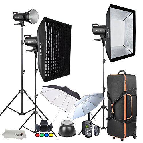 Godox SK400II 3 x 400Ws 2.4G Strobe Flash Kits for Studio Photography Lighting - Light Stands, Softbox, Barn Door, Umbrella, Wireless Trigger, Carrying Case Accessory Kits for Canon Nikon by Godox