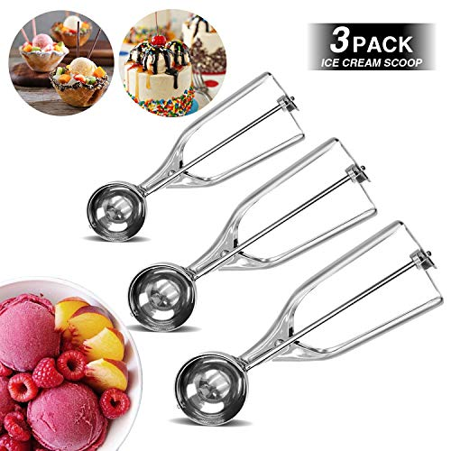 TIANHOO Cookie Scoop Set Stainless Steel Ice Cream Scoop Set Cookie Scoop Set Trigger for Cookie Dough Cake Make 3 Size Upgrade (3 PCS)