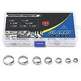 Glarks 80Pcs 7-21mm 304 Stainless Steel Single Ear stepless Hose Clamps Assortment Kit