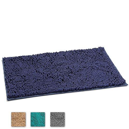 "LuxUrux Bathroom Rug Mat –Extra-Soft Plush Bath Shower Bathroom Rug,1"" Chenille Microfiber Material, TPR Surface, Super Absorbent. Machine Wash & Dry (Dark Blue)"