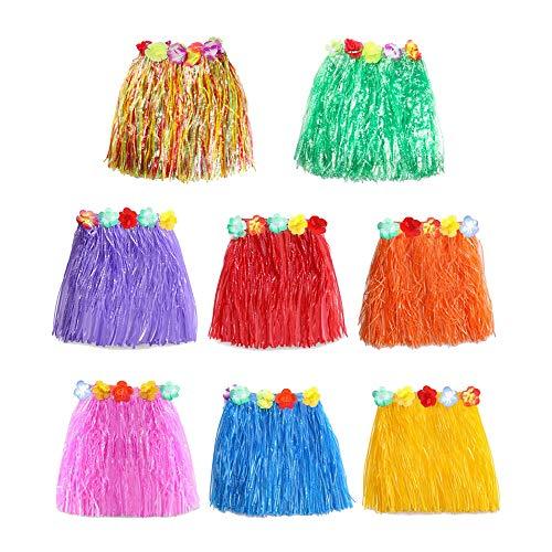 8PCS Elastic Hawaiian Luau Hula Grass Skirts Dance Dresses Tropical Hibiscus Flower Leis Costume Set Island Beach luau Party Favors by CSPRING]()