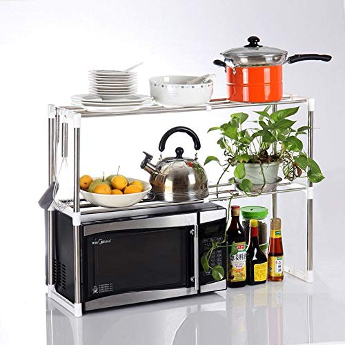 2 Tier Microwave Oven Rack Stand Shelf Stainless Steel Kitchen Storage Organizer Expandable with 6 Hooks