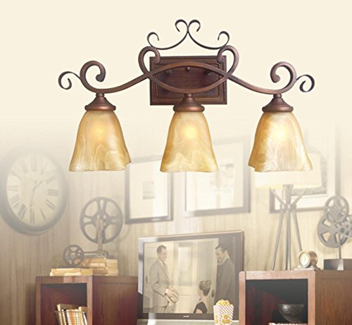 DMMSS Mirror front lamp Countryside retro retro Iron corner bedside lamp , 2 by DMMSS
