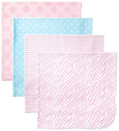 Gerber Baby-Girls Newborn 4 Pack Flannel Blanket-Polka Dots, Pink, One Size
