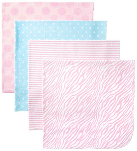 Price comparison product image Gerber Baby-Girls Newborn 4 Pack Flannel Blanket-Polka Dots, Pink, One Size