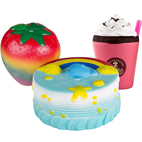 BeYumi Slow Rising Toy, Rainbow Dolphin Cake, Rainbow Strawberry, Drinks Set Squishy Cream Scented Decompression Squeeze Toys for Collection Gift, decorative props Large or Stress Relief