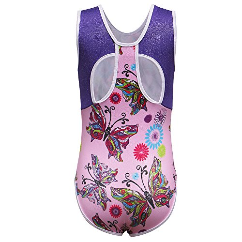 Ballet Costume Design School (BAOHULU Spliced Diamond Mermaid Dancing Tumbling Tank Gymnastics Outfit Leotard for Girls 3-12 Years (6A(Recommended age 5-6Y), PinkButterfly))