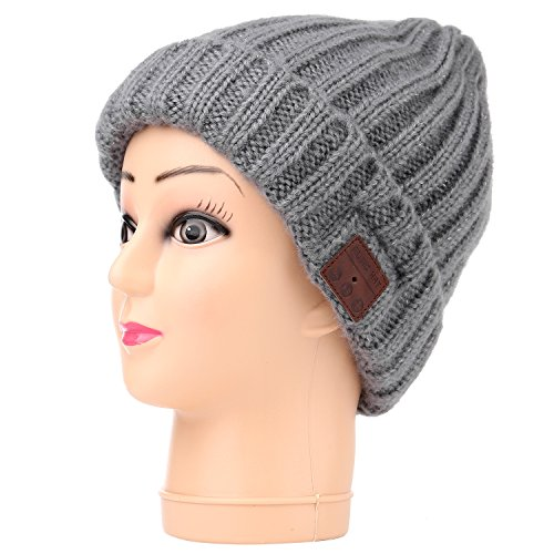 Onedayshop Unisex Wireless Bluetooth Beanie Knitted Winter Warm Music Hat with Built in Stereo Headphone Speaker for Christmas Gifts (Gray 1)