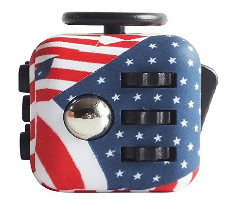 Flag Lead (MUPATER Fidget Cube, Stress Relief and Anxiety Attention Toy for Adult and Children, US Flag)