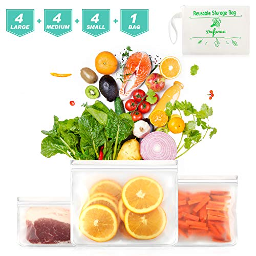Reusable Sandwich Bags 12 Pack - Also Used for Food Storage Bags, Snack Bags - BPA Free, Leakproof, PEVA Food Grade Reusable Ziplock Bags, Safe for Kids & Freezer