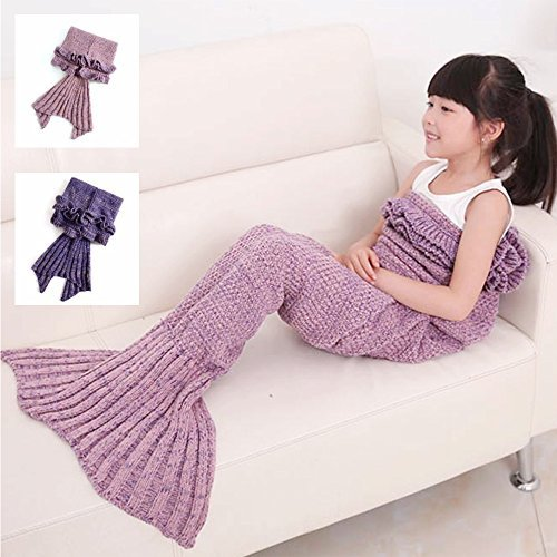 Mermaid Blanket Air Conditioning Sleeping Bag Slumber Sack Handmade Polyester Crochet Knitting Pattern Seasons Warm Soft Cozy in Room Quilt Best Birthday Christmas Gift Kids (Pale pinkish gray)