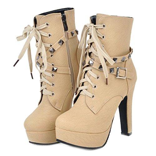 Blocco Piattaforma Smilice Di Stivali E Dimensioni Piccole Alta Grandi Modo Tallone Della Donne Caviglia Stivaletti Beige qAPwBa