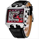 OHSEN Men Waterproof 30M Zone Alarm Digital Leather Band Sports Quartz Wrist Watch Black& Red