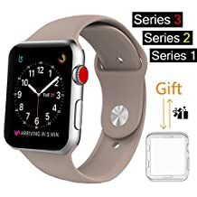 For Apple Watch Band, MOOLLY Soft Silicone iWatch Strap Replacement Sport Band for Apple Watch Band Series 3 Series 2 Series 1 Sport & Edition 38mm (GJ38MM-Pebble)