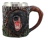 Ebros Gift Nature Wildlife Roaring Black Bear Mug With Rustic Tree Bark Design 12oz Drink Beer Stein Tankard Coffee Cup