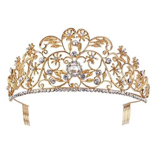 Stuff Bridal Tiara Gold Leaves Crown Headpiece Headdress Crystal Rhinestione Tiara Womens Gift Crystal Headpiece Headband (STHG00319)