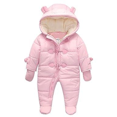 38b05a2b3 TeenMiro Baby Winter Jumpsuit Newborn Fleece Romper Infant Snowsuit Pattern  Pink