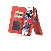 Felidio iPhone 6s Wallet Case, Retro Genuine Leather Case for iPhone 6 6s with Card Holder Zipper Pockets Magnetic Flip Cover [2 in 1] Red