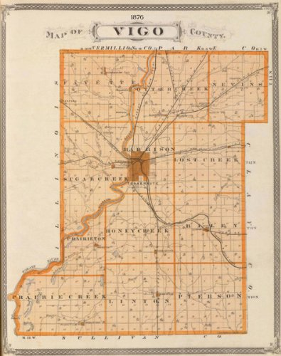 Old County Maps - VIGO COUNTY INDIANA (IN/TERRE HAUTE) MAP 1876 - (1876 Indiana Map)