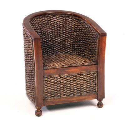 ANCIENT MARINER WATER HYACINTH TUB CHAIR WITH WOODEN ARMS: Amazon.co ...