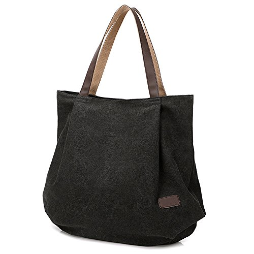 Hiigoo Women's Casual Handbag Big Shoppingbags Bucket Canvas Shoulder Bags (Black)
