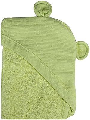 Minene – niños bebé baño toalla delantal con capucha con orejas de oso, 70 x 70 cm, verde: Amazon.es: Bebé