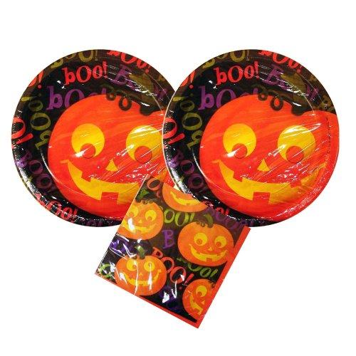 Halloween Party supplies, 16 guests, Boo Pumpkin plates, napkins ()