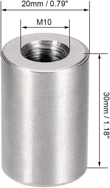 sourcing map Connecteur rond /écrous M6x20mm Hauteur /écrou goujon manchon acier inox 304 5Pcs