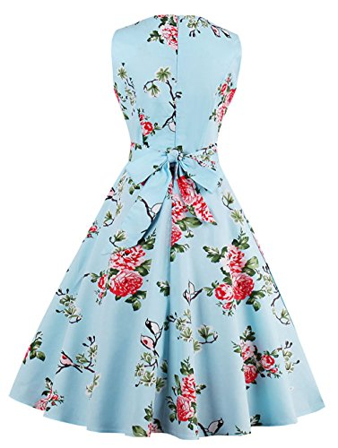 da di di promenade Multicolor Hepburn del classico di blue Bird 50s di VERNASSA S stile Donna del 1950s Formato stile 4XL cotone Swing Sera dell'abito 1396 Vestito Abiti da Flower cotone di wSwq17xYP
