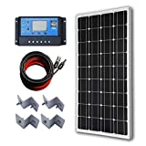 ECO-WORTHY 12V 100W Monocrystalline Solar Panel kit Complete System With 20A LCD Charge Controller + 16.4ft Cables Connector