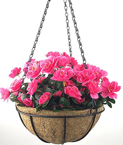 Lopkey Outdoor Artificial Red Azalea Bush Flower Patio Lawn Garden Hanging Basket with Chain Flowerpot,Rose Red ()