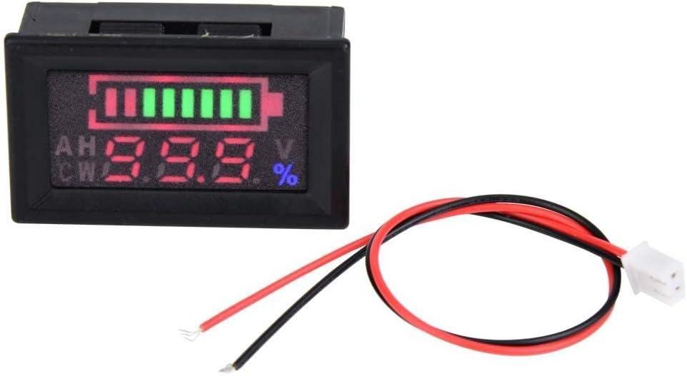 ZGYQGOO Voltímetro Digital, 6-80V LED Pantalla Dual Voltímetro Porcentaje Voltaje Digital Medidor de Potencia para automóvil Motocicleta Voltaje Voltímetro