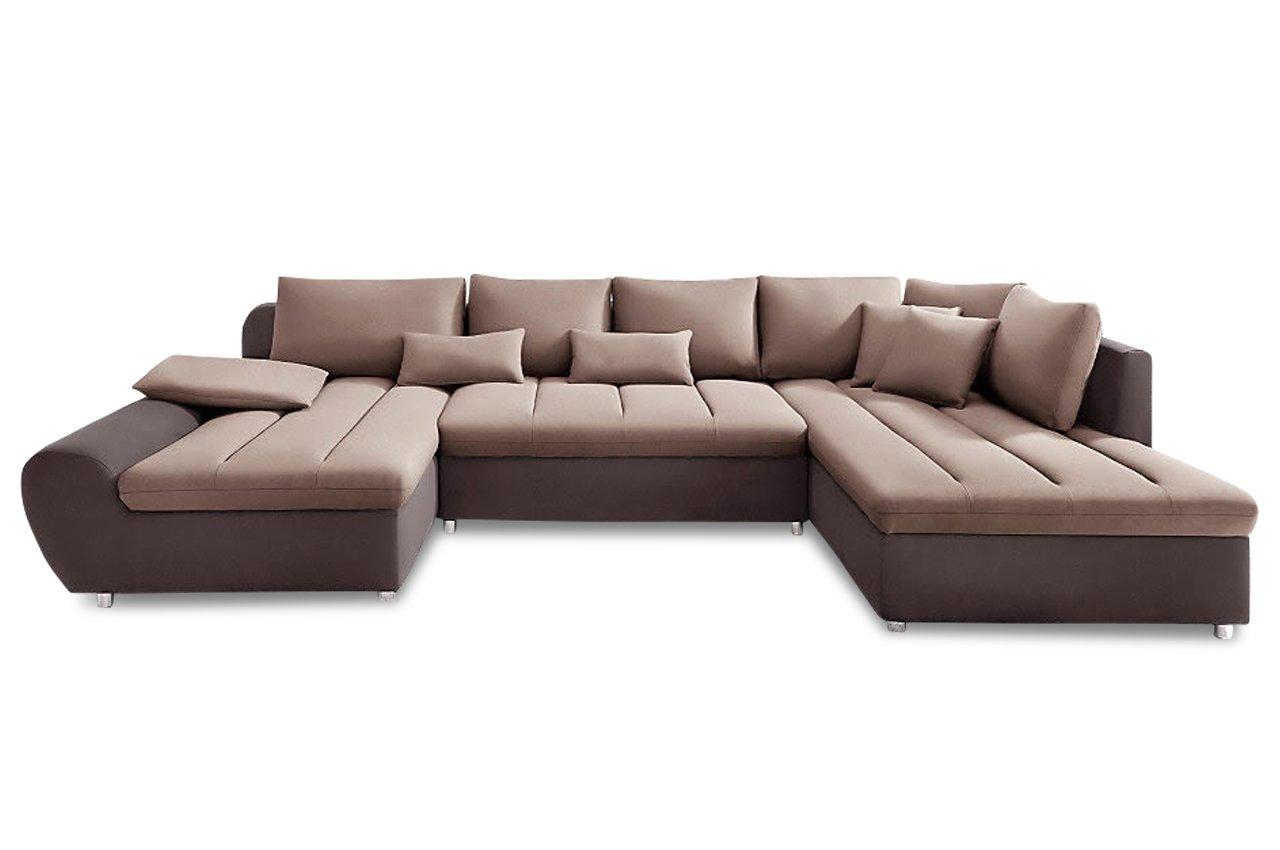 Sofa Sit More Wohnlandschaft Bandos Flachgewebe Braun Beige Gunstig