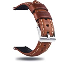 Berfine Quick Release Retro Leather Watch Band,Vintage Oil-Tanned Pull-up Leather Strap Replacement,Choice of Width-18mm…
