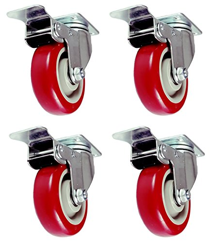 Caster Wheels Swivel Plate Stem Break Casters On Red Polyurethane Wheels 880 Lbs (4 inch with brake)