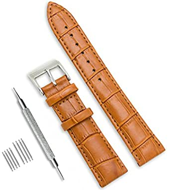 CIVO Genuine Leather Watch Strap Top Calf Grain Leather Watch Bands 16mm 18mm 20mm 22mm 24mm for Men and Women with Top Spring Bar Tool and 8 Spring Bars Bonus