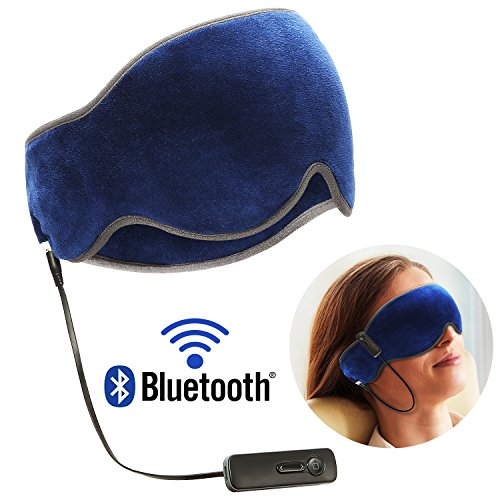 Bluetooth Sleep Mask V4.2 Superior Wireless Music Eye Mask with HD Stereo Headphone Sleep headset Earphone and Mic, Hands free for Travel, Relaxation, Meditation, Insomnia