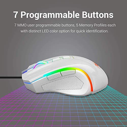 Redragon M602 RGB Wired Gaming Mouse RGB Spectrum Backlit Ergonomic Mouse Griffin Programmable with 7 Backlight Modes up to 7200 DPI for Windows PC Gamers (White) 51jToau3TxL