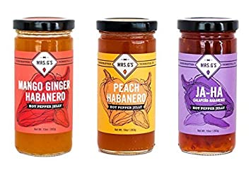 Mrs. Gs Hot Pepper Jelly 3-Pack: Mango Ginger Habanero, Peach Habanero