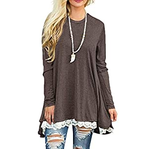 Women Tops, Gillberry Womens CottonLong Sleeve Round Neck Splice Shirt Blouse Tops T Shirt (Coffee, XL)