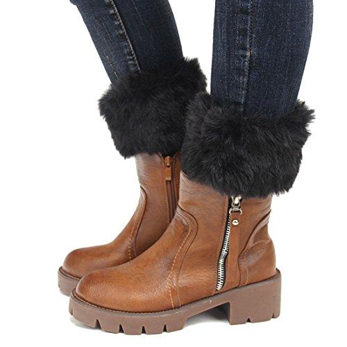 Womens Fur Trim Boot Cuff Top Cover Leg Warmers Black